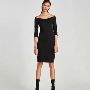 Zara Off The Shoulder Stretch Dress | Size S